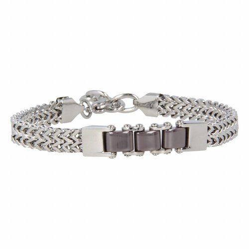 Godina My Bendel sturdy silver link bracelet with gray ceramic