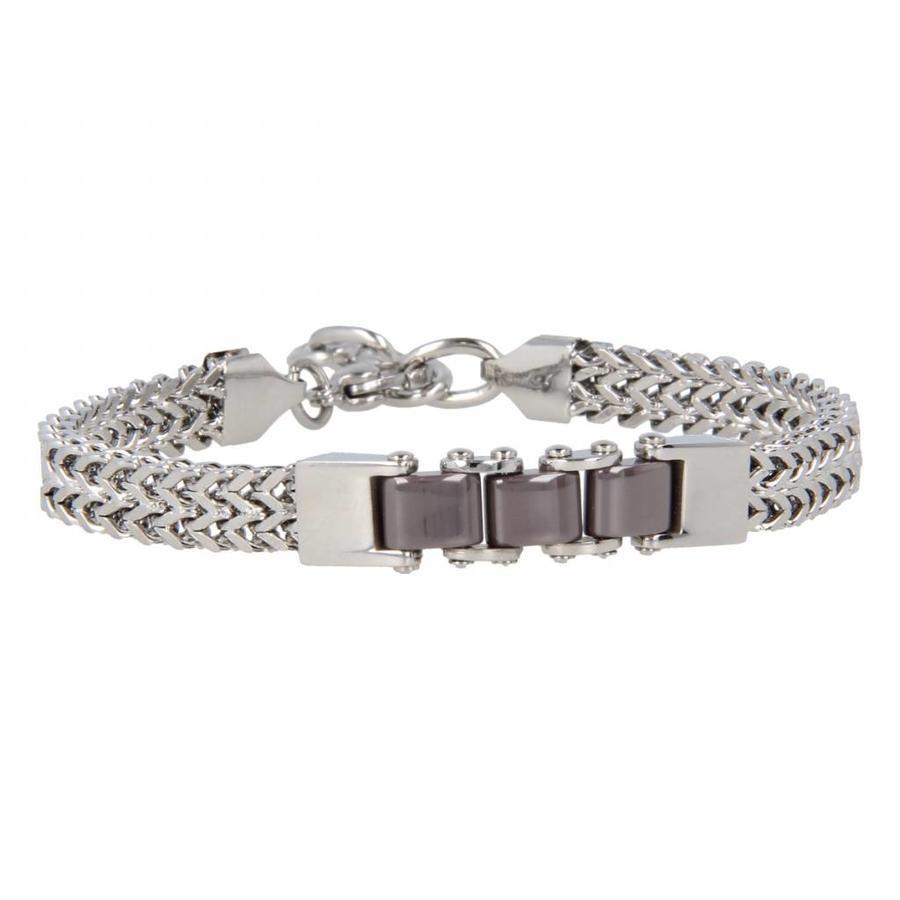 Godina Stoere zilverkleurige edelstalen schakelarmband met drie grijze keramieken schakels