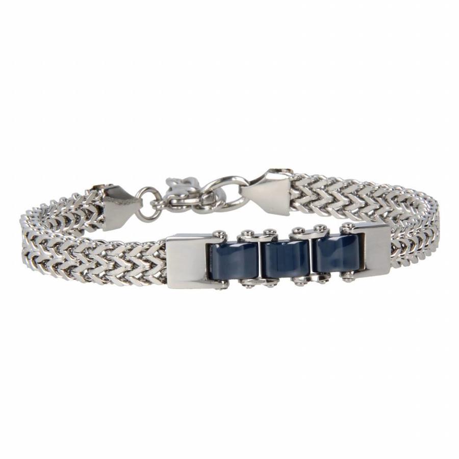 Godina Stoere zilverkleurige edelstalen schakelarmband met drie blauwe keramieken schakels