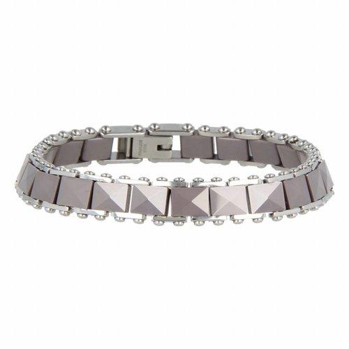 Godina My Bendel schakelarmband keramiek - GO1022 - Grijs - 8 mm