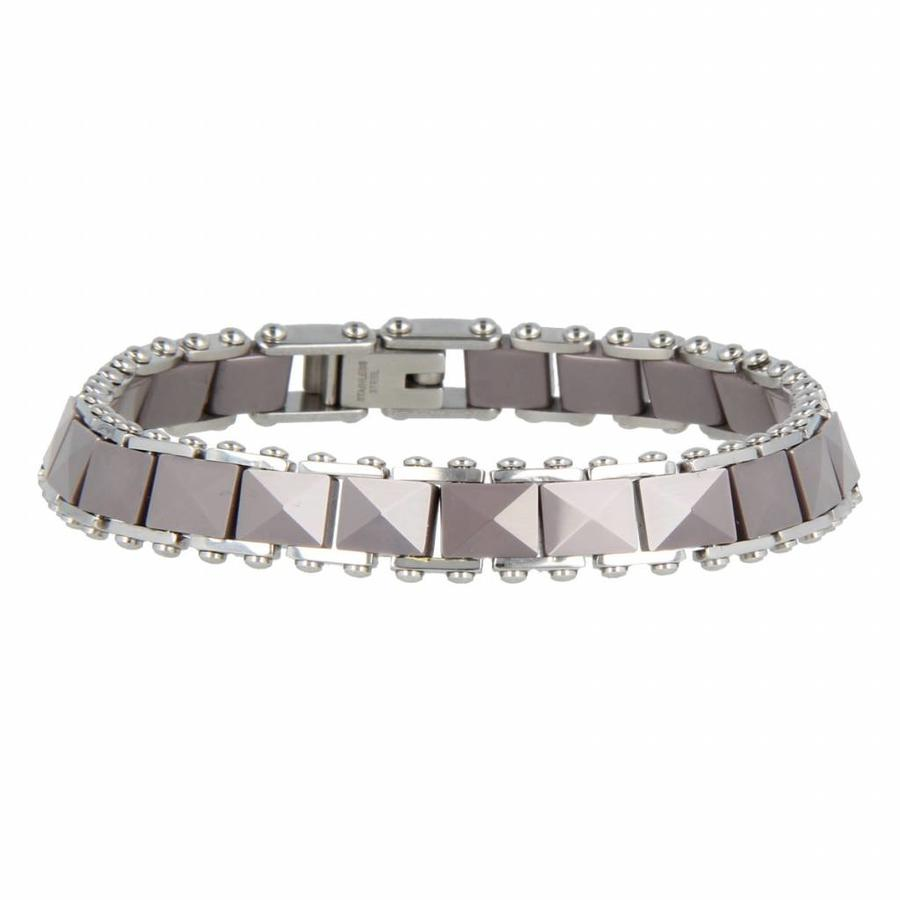 Godina Silver link bracelet made of faceted gray ceramic