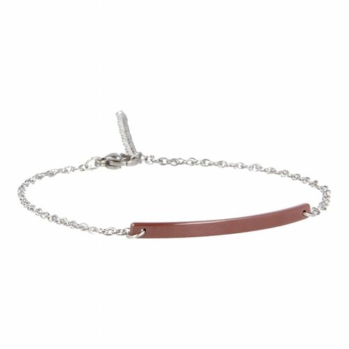 Godina My Bendel silver link bracelet with brown ceramic