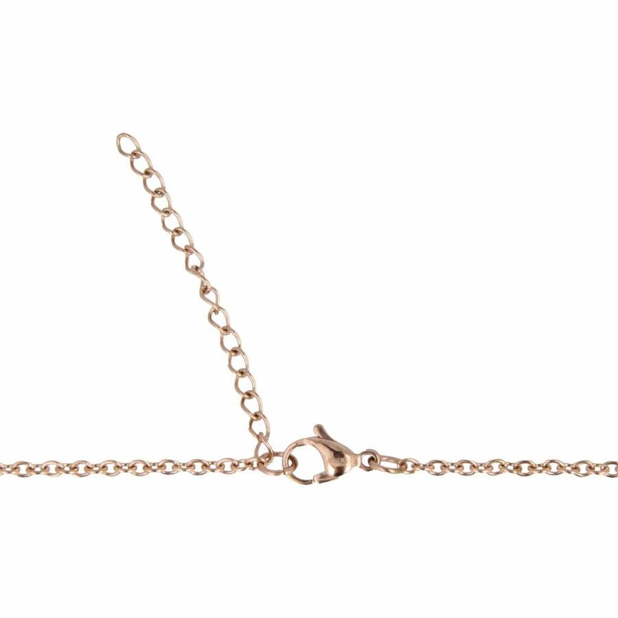 Godina 750 mm long chain made of pink-plated stainless steel with white ceramic heart