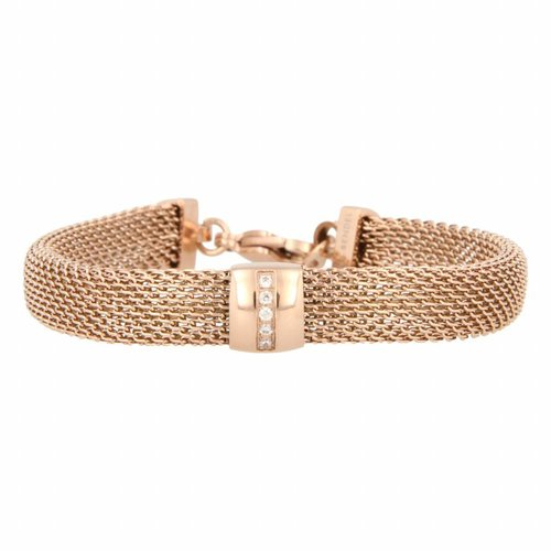 Bless My Bendel wide rose gold link bracelet with zirconia