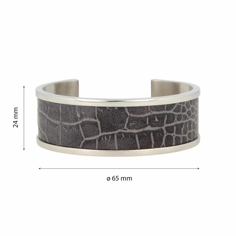 Croco Bangle bracelet with silver gray faux leather