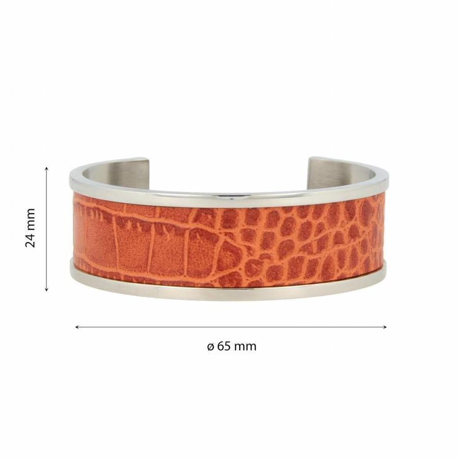 Croco Bangle armband zilver met cognac faux leer