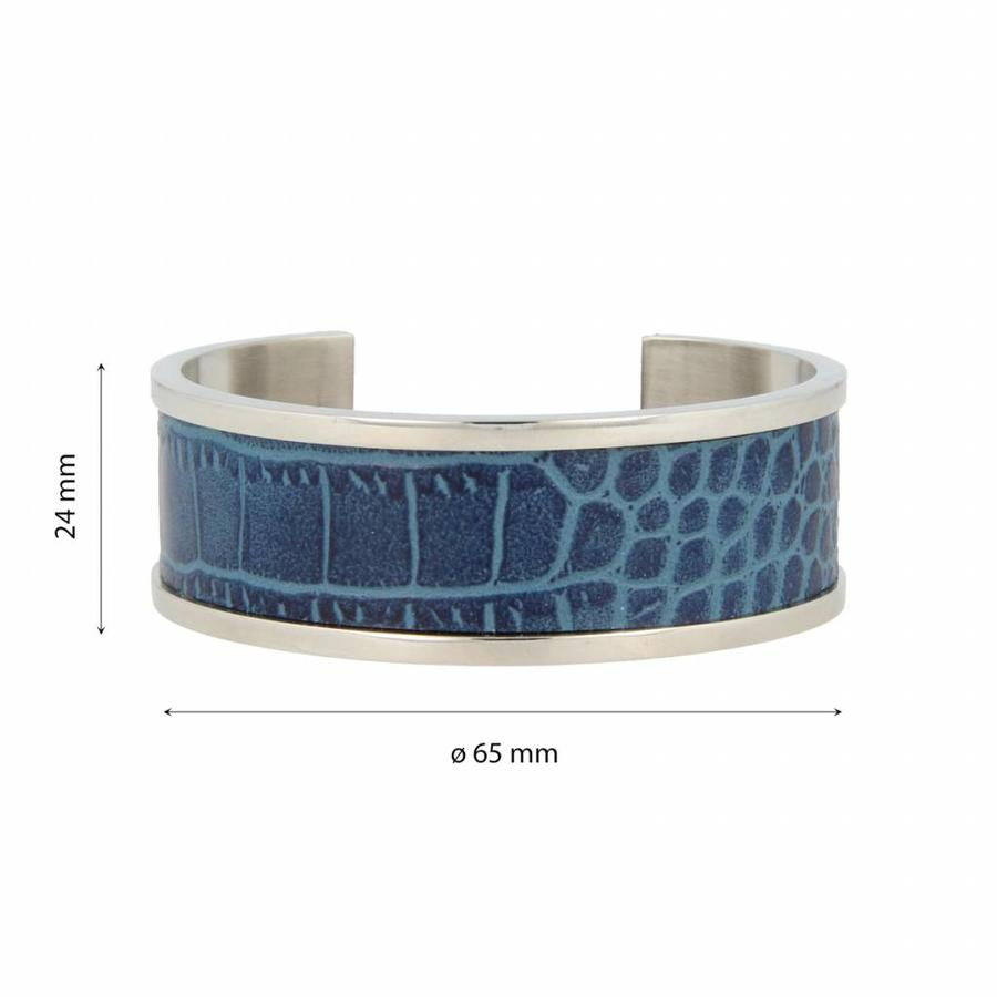 Croco Silver bangle bracelet with blue faux leather