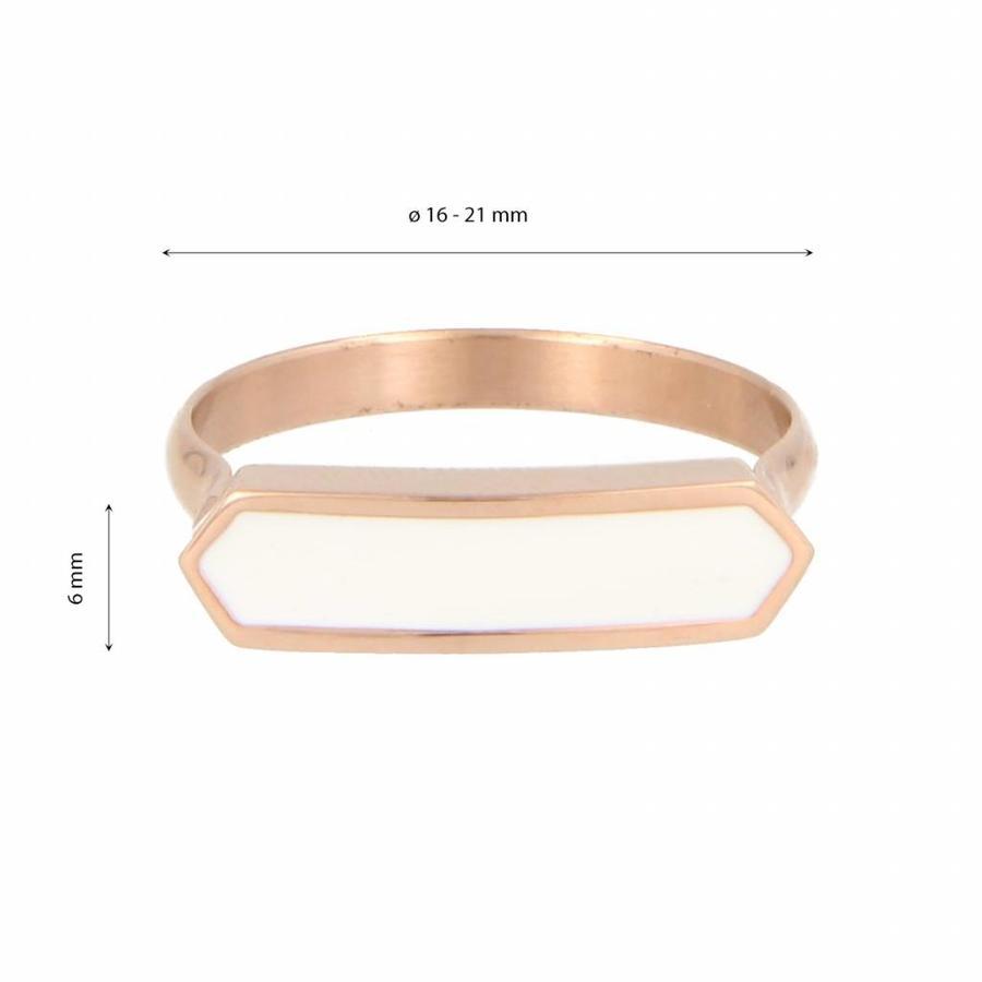Katina Elegante rosékleurige edelstalen ring met wit detail