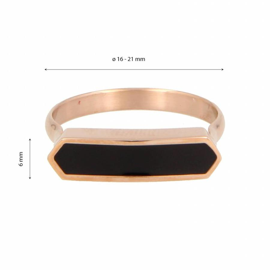 Katina Rosékleurige edelstalen ring met mooi blijvende zwarte epoxy detail.