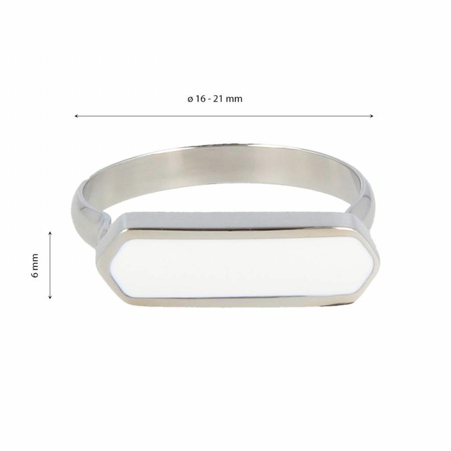 Katina Bijzondere edelstalen ring met mooi blijvende witte epoxy detail.