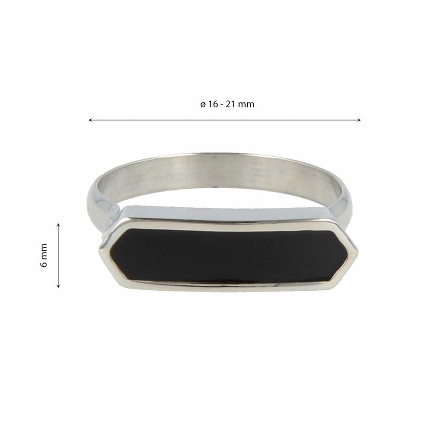 Katina Mooie dames ring zilver met zwarte inleg. Uniek design.