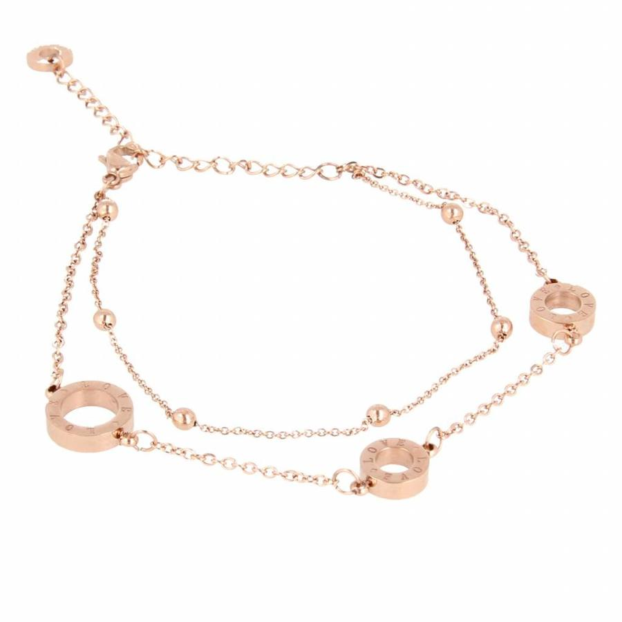 Picolo Dubbele fijne rose gouden armband met LOVE details