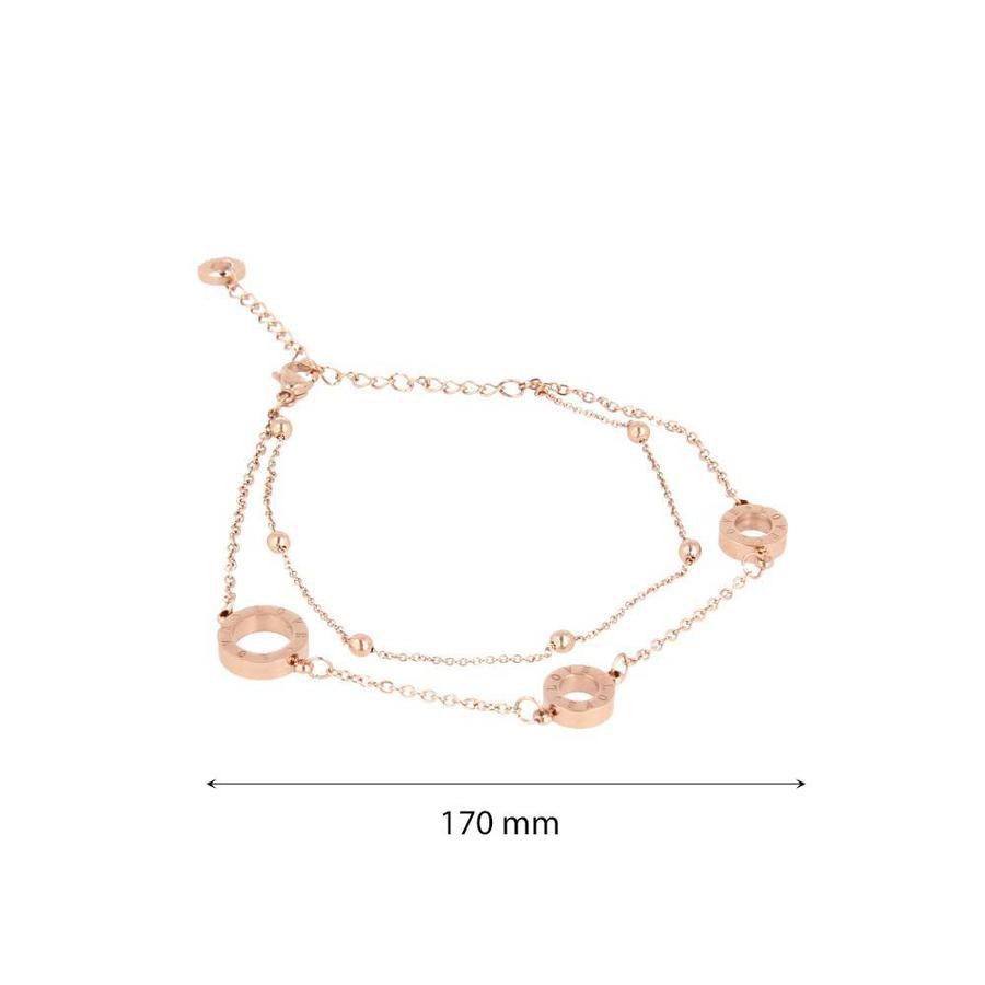 Picolo Minimalistische rosékleurige edelstalen schakelarmband met LOVE letters