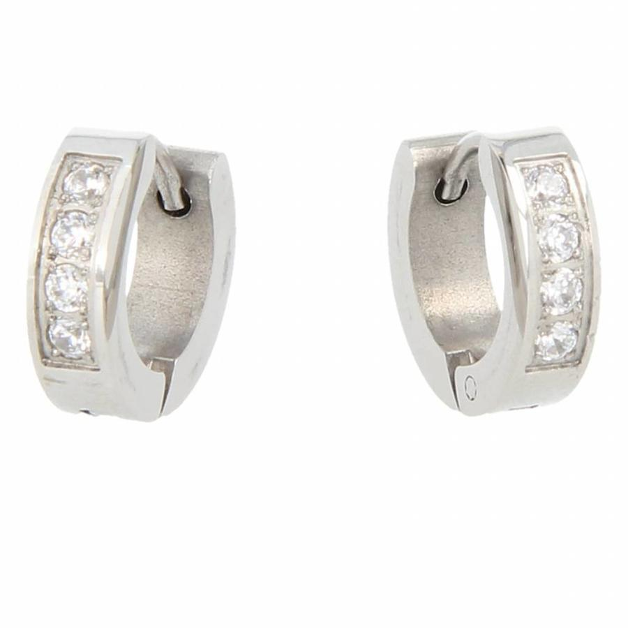 Picolo Minimalist silver hoop earrings with zirconia