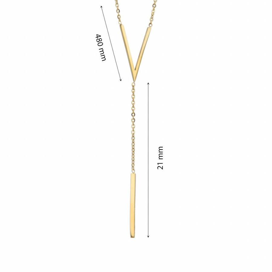 Picolo Fijne goudkleurige schakelketting van edelstaal met VI symbool
