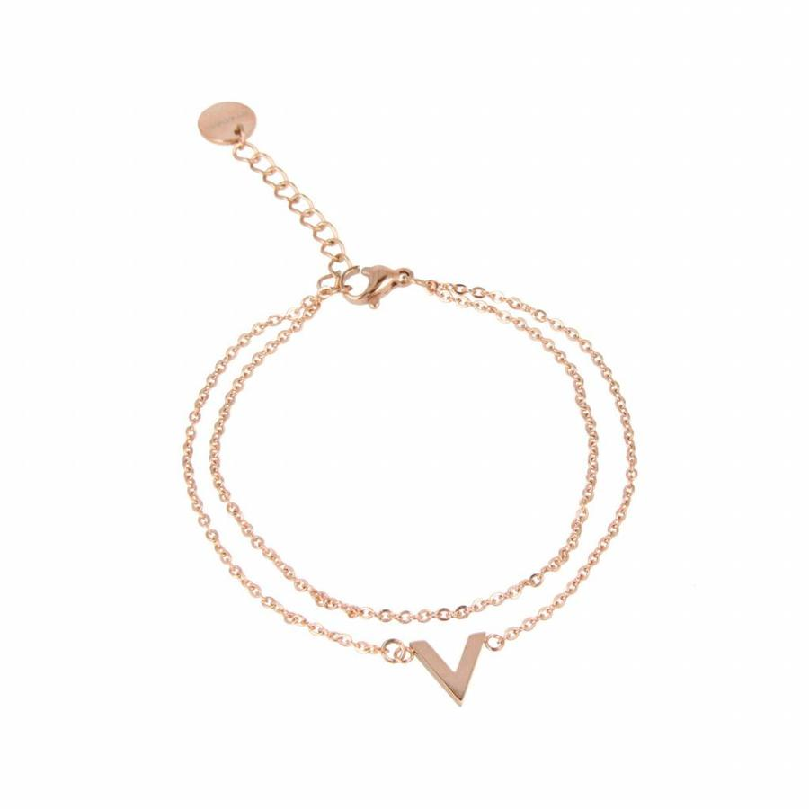 Picolo Doubled Fine rose gold bracelet with V-charms