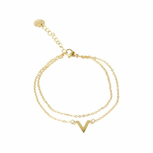 Picolo My Bendel gold link bracelet with V charm