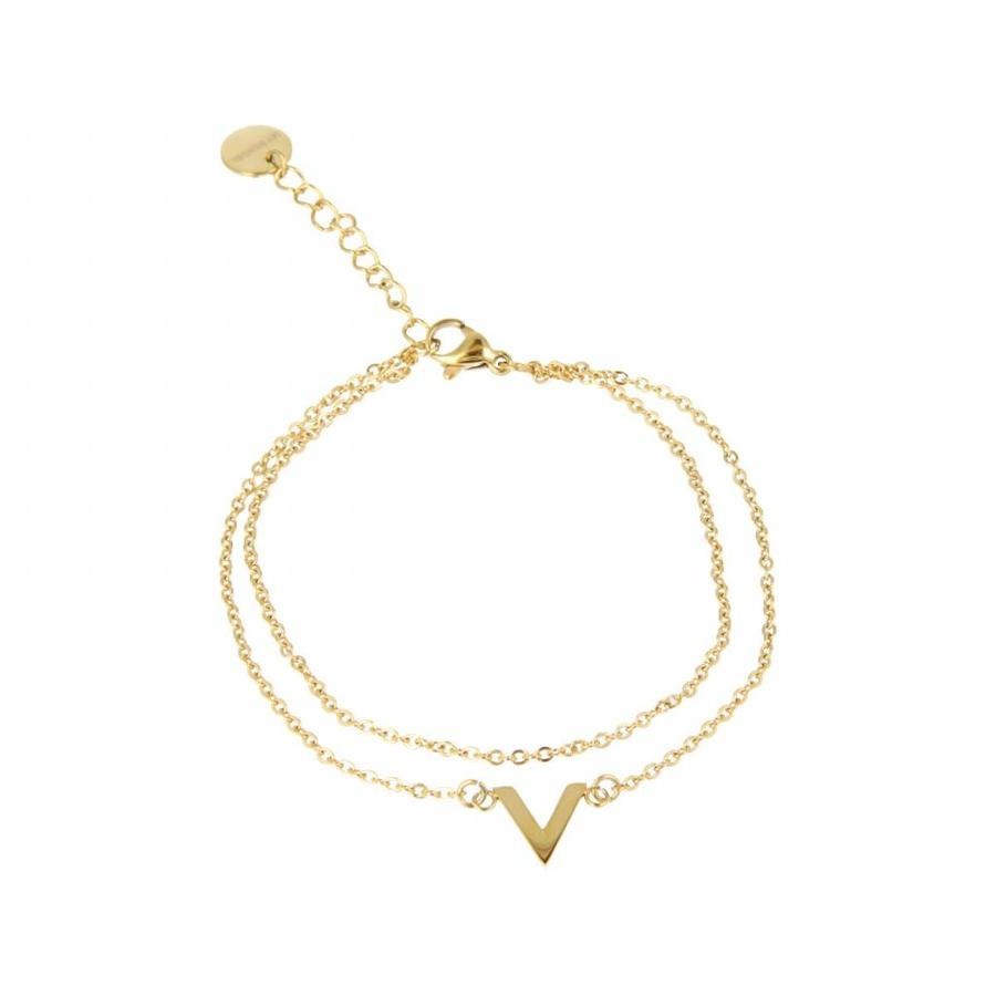 Picolo Doppeltes feines Gold Armband mit V-Charms