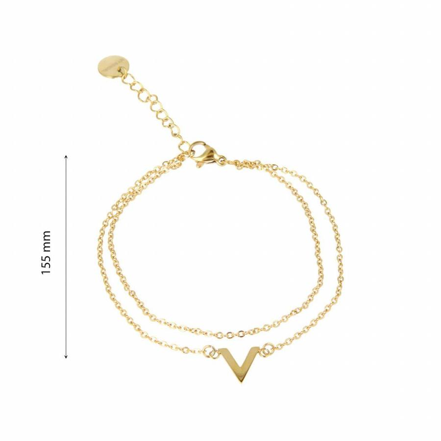 Picolo DoubleD Fine gold bracelet with V-charms