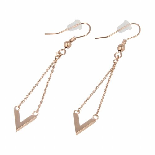 Picolo My Bendel long rose gold earrings with V bead