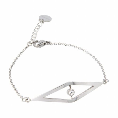 Picolo My Bendel zilveren schakelarmband met zirkonia bedel