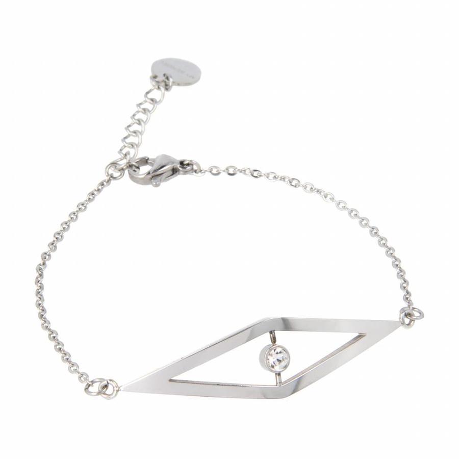 Picolo Minimalistische zilverkleurige edelstalen armband met zirkonia