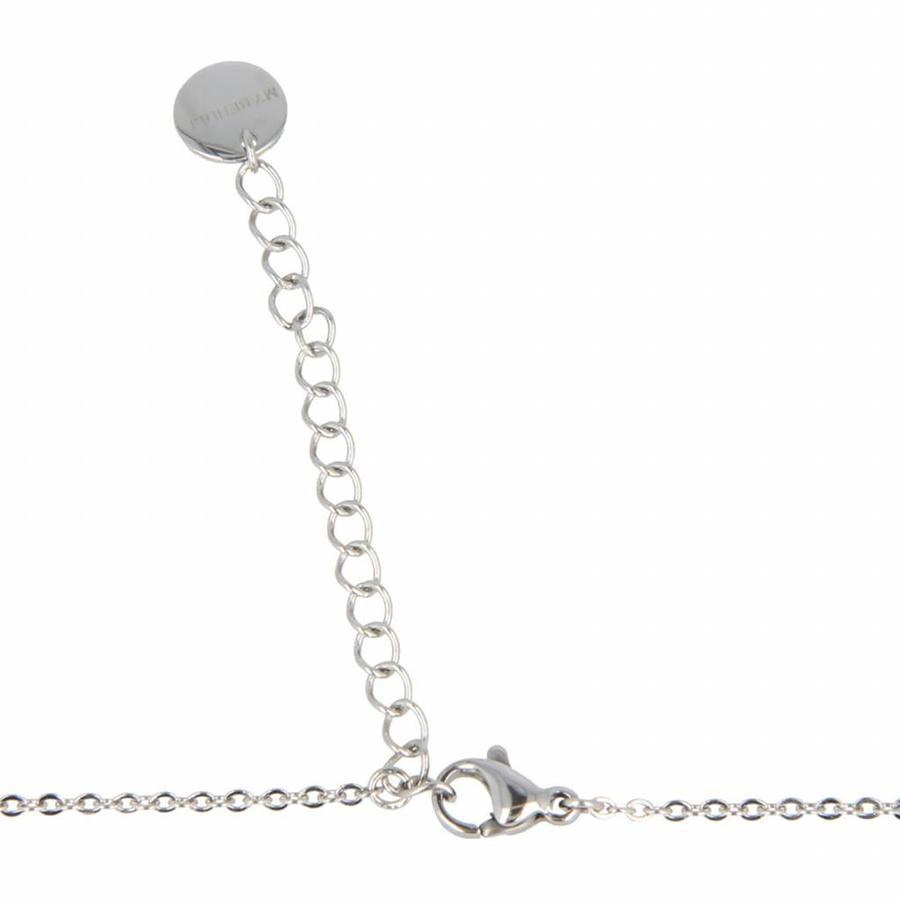 Picolo Fijne zilverkleurige schakelketting van edelstaal met lang V symbool
