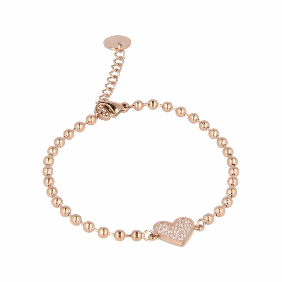 Picolo Elegante rosékleurige kralenarmband van edelstaal met harten zirkonia bedel