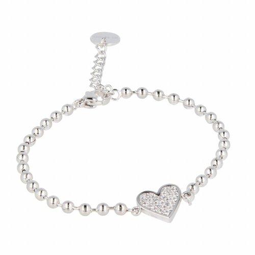 Picolo My Bendel kralenarmband hart met zirkonia - PO1000 - Zilverkleurig - 11 mm