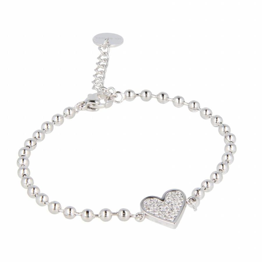 Picolo Elegante zilverkleurige kralenarmband van edelstaal met harten zirkonia bedel