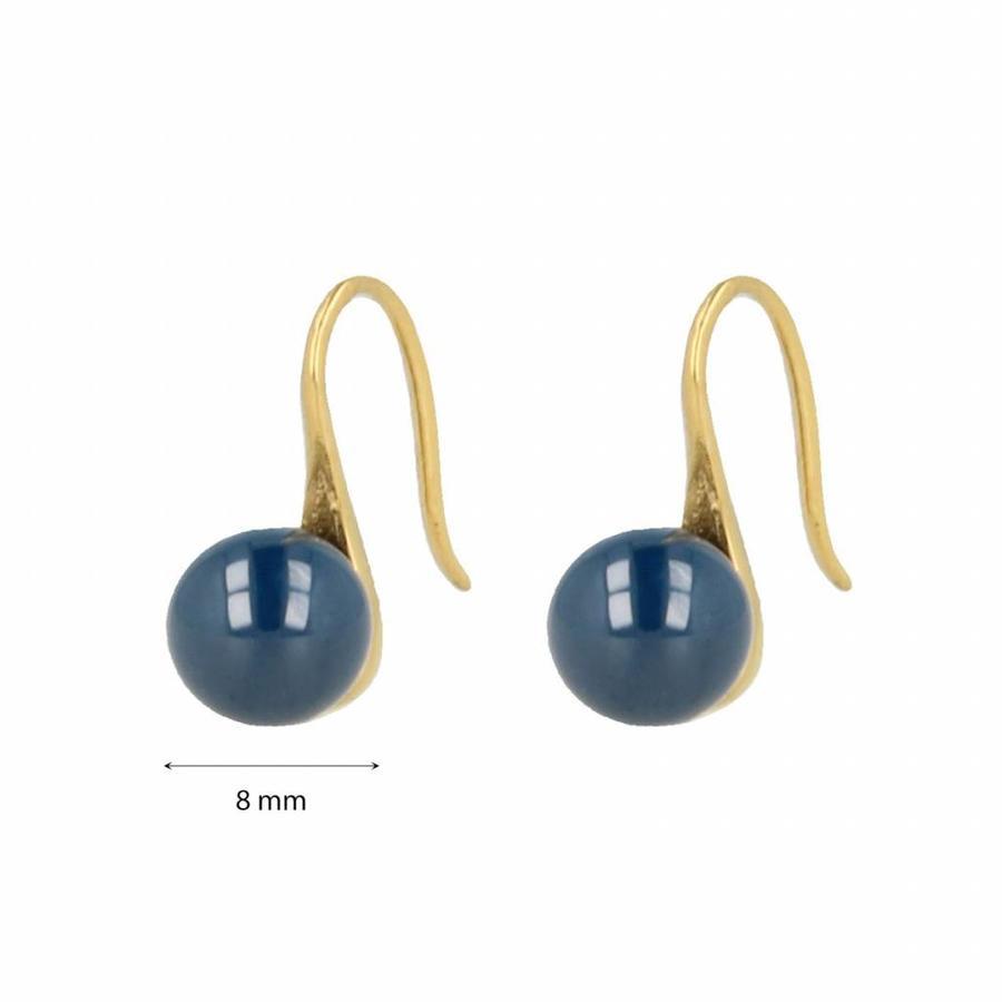 Godina Goudkleurige edelstalen oorbellen met  8 mm blauw keramiek bolletje