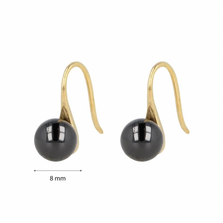 Godina Goudkleurige edelstalen oorbellen met  8 mm zwart keramiek bolletje