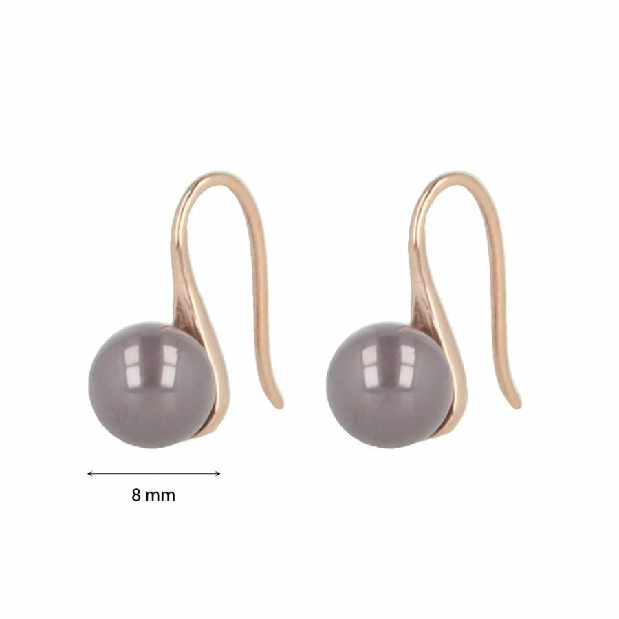 Godina Rose gold earrings with gray ceramic ball