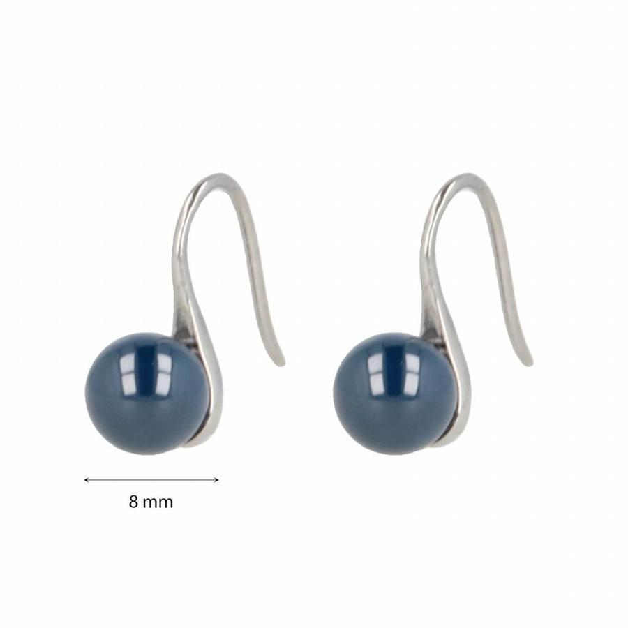 Godina Edelstalen oorbellen met  8 mm blauwkeramiek bolletje