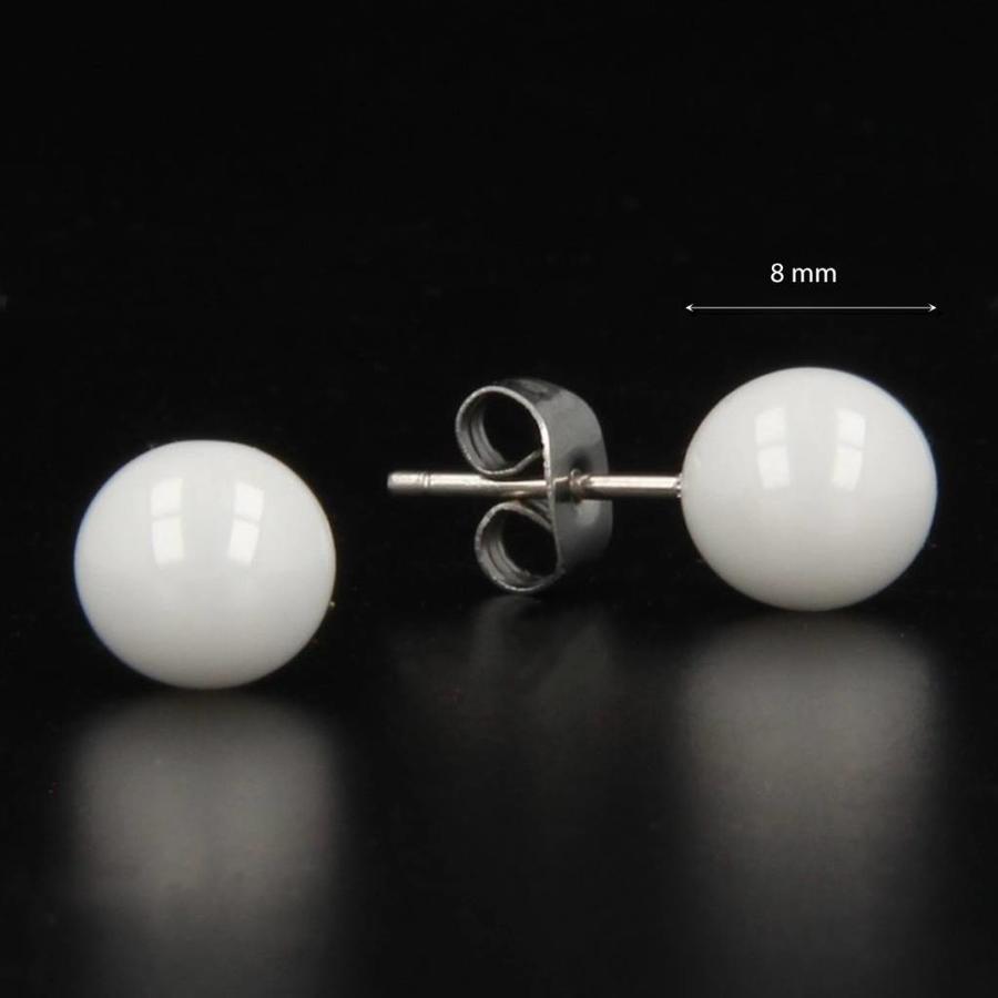 Godina Edelstalen oorsteker met 8 mm wit keramiek bolletje