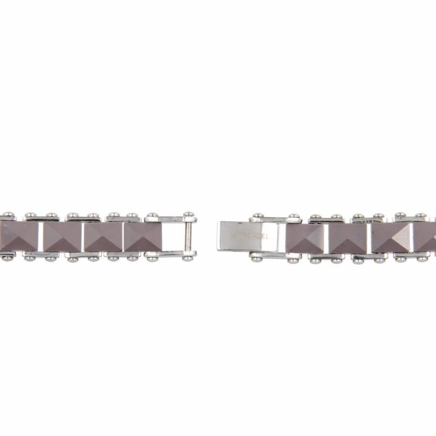 Godina Elegante schakelarmband van edelstaal met diamant geslepen grijs keramiek