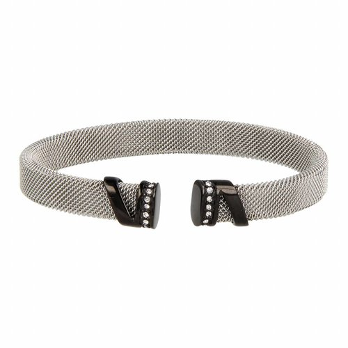 Bless My Bendel - Unieke bangle - zilver met zwart en afgewerkt met zirkonia - BL2001
