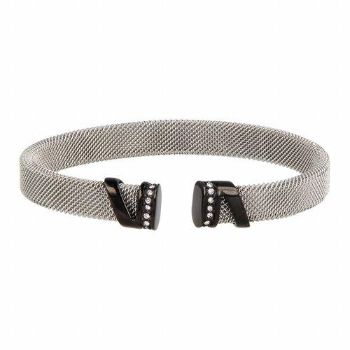 Bless My Bendel zilveren klemarmband met zwarte zirkonia bedel