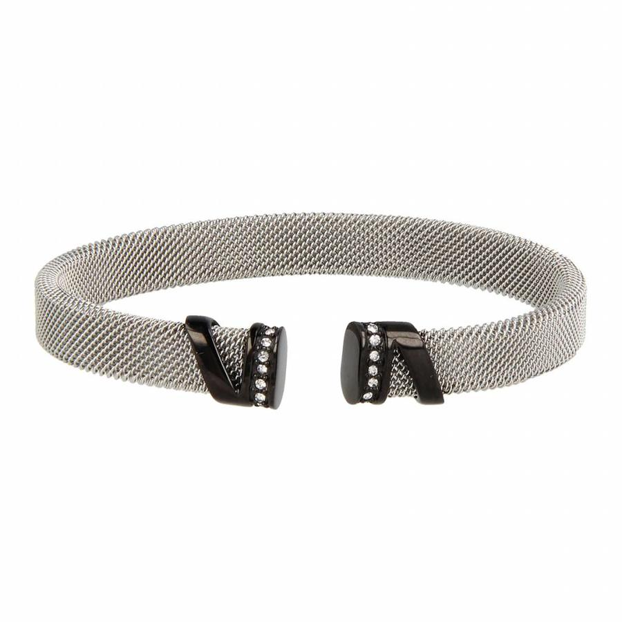 Bless Clip bracelet made of woven silver stainless steel with black charms