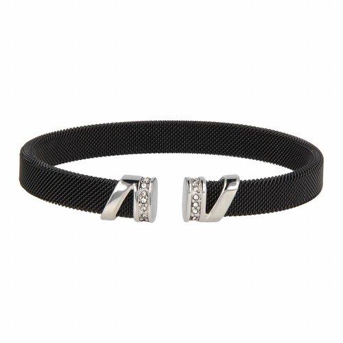 Bless My Bendel - Zwarte bangle met zilverkleurig detail en zirkonia - BL2001