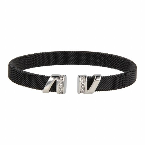 Bless My Bendel zwarte klemarmband met zilveren zirkonia bedel