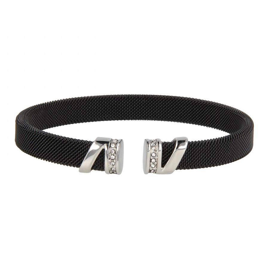 Bless Clip bracelet made of woven black stainless steel with silver charms