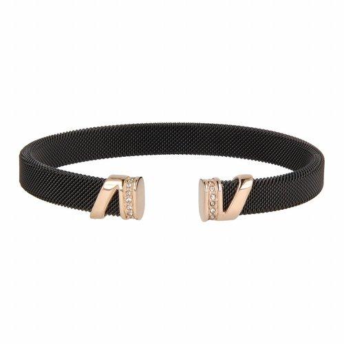 Bless My Bendel - Bangle - Edelstaal - Zirkonia - BL2002 - Zwart - Roségoud - 8 mm