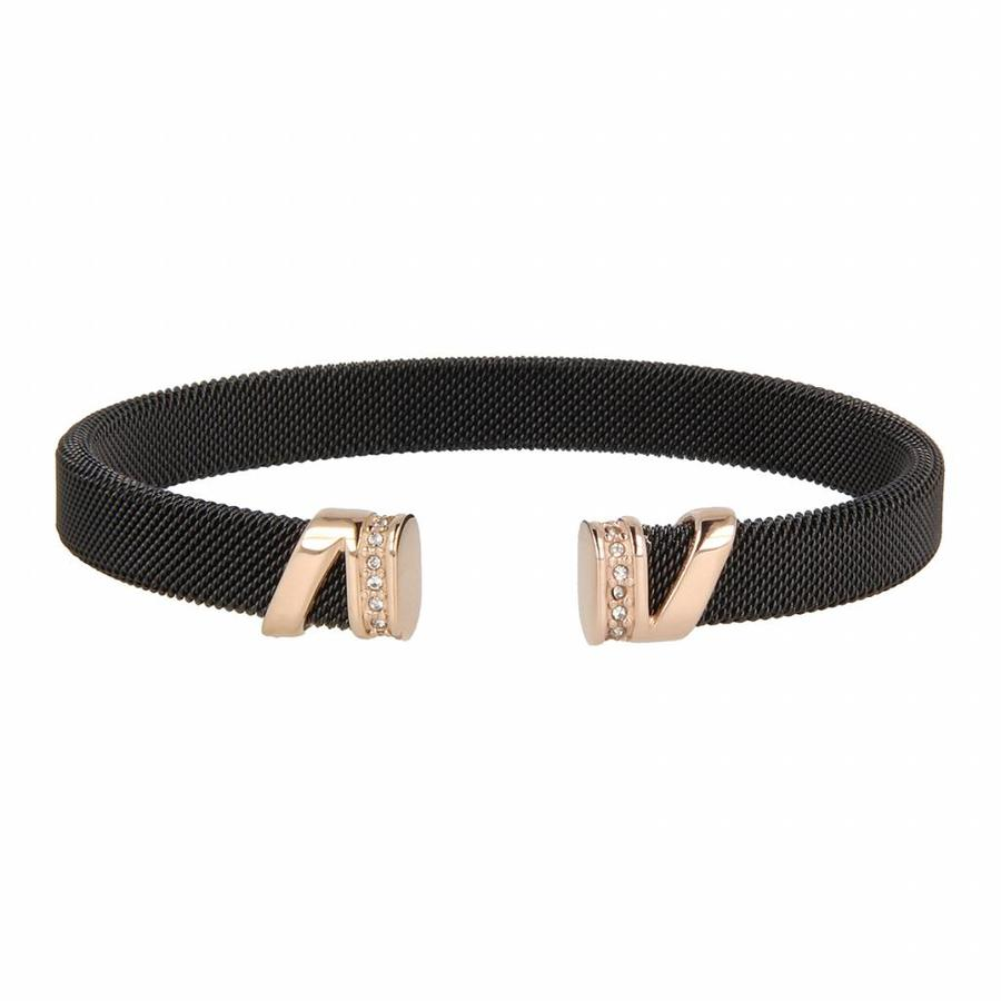 Bless Clip Armband aus gewebtem schwarzem Edelstahl mit roségoldenen Anhängern