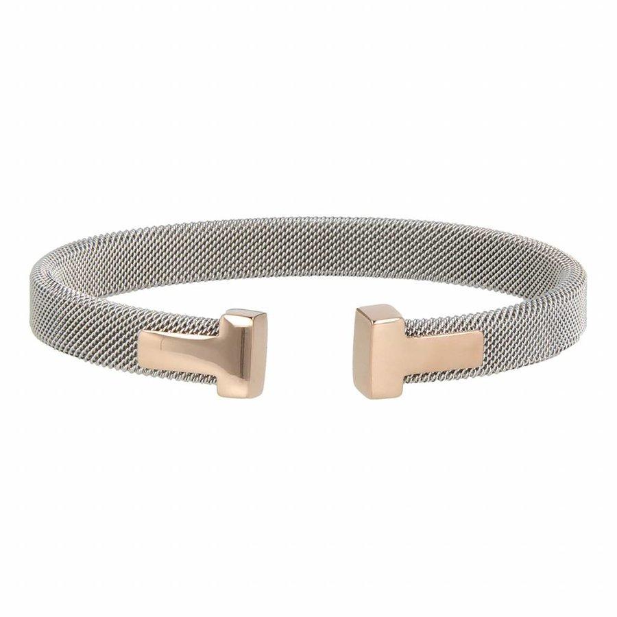 Bless Clip Armband aus gewebtem Silber Edelstahl mit Roségold Charms