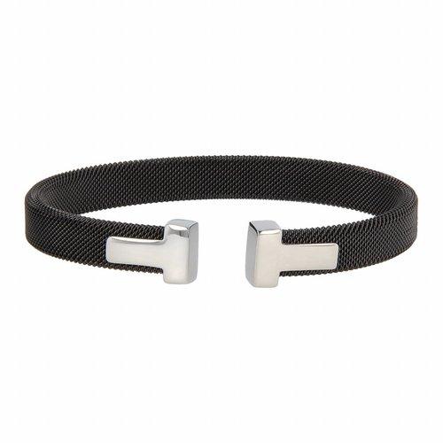 Bless My Bendel zwarte klemarmband met zilveren bedel