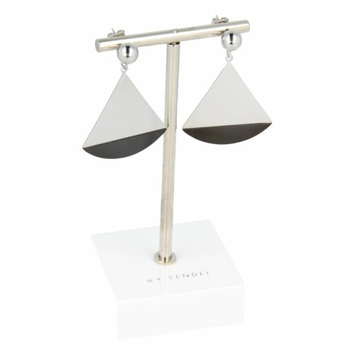 Change My Bendel two-toned earrings with triangle pendant