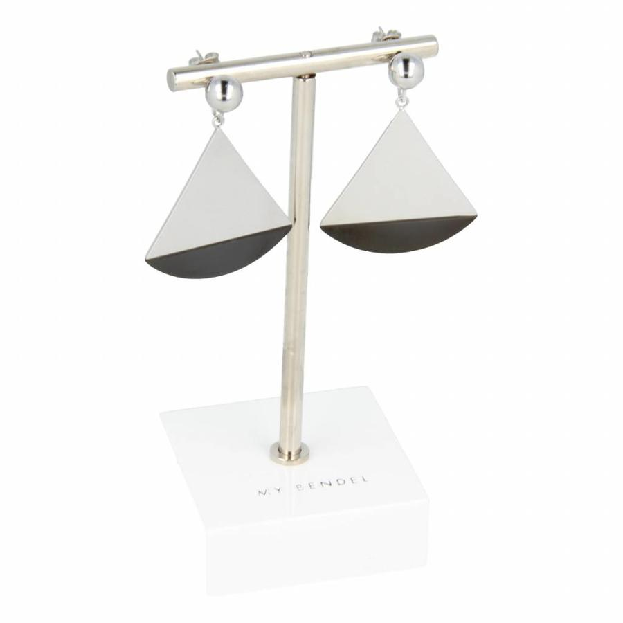 Change Stylish two-toned earrings with triangle pendant