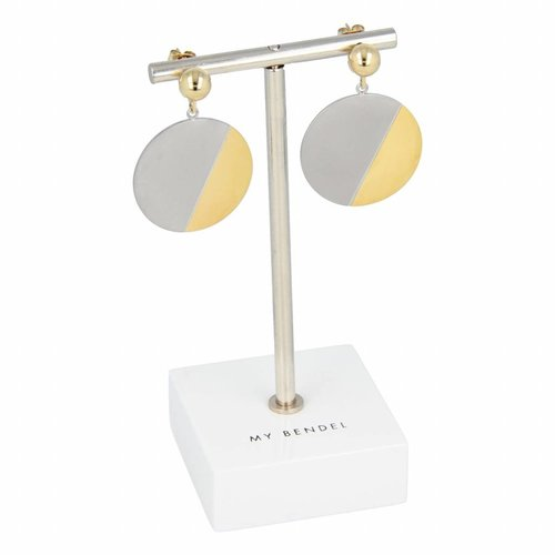Change My Bendel two-toned earrings with round pendant