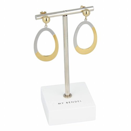 Change My Bendel two-toned earrings with oval pendant